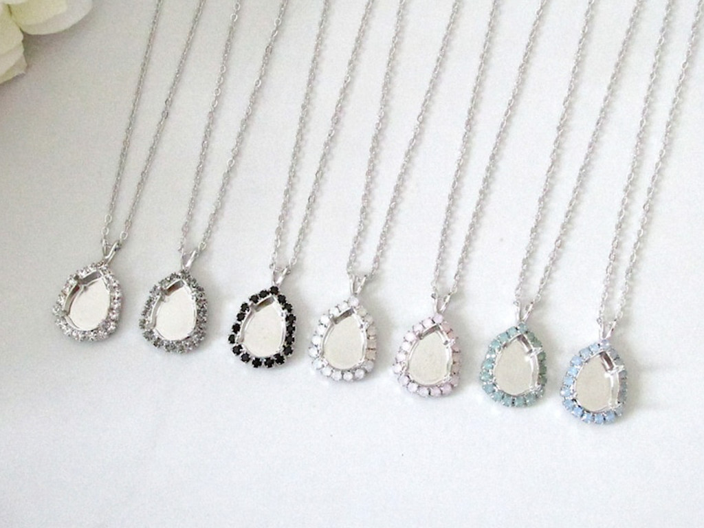 14mm x 10mm Pear | Crystal Halo Single Pendant On Necklace Chain | One Piece - Choose Crystal Halo Color