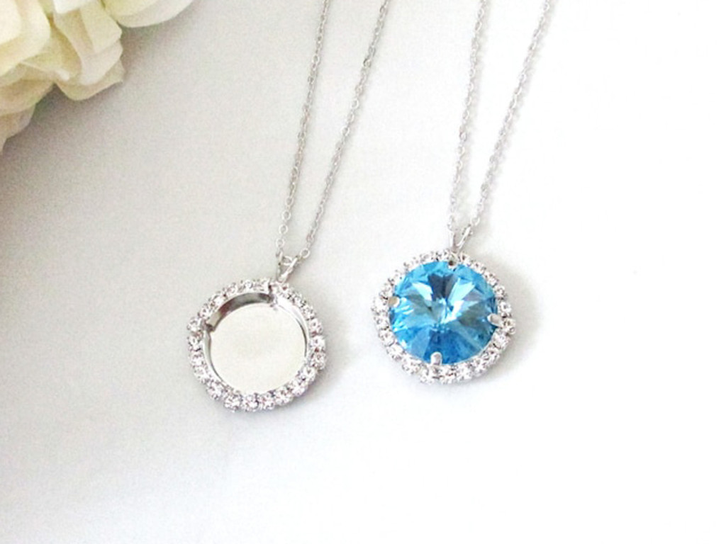 18mm Round | Crystal Halo Single Pendant On Necklace Chain | One Piece