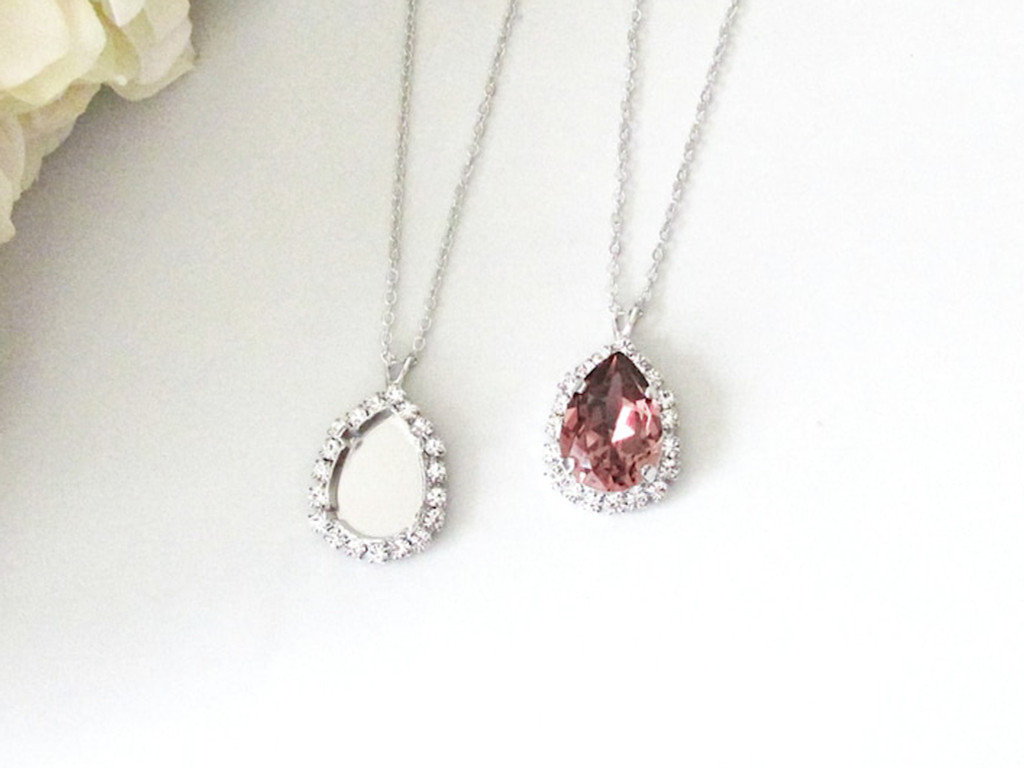 18mm x 13mm Pear | Crystal Halo Single Pendant On Necklace Chain | One Piece