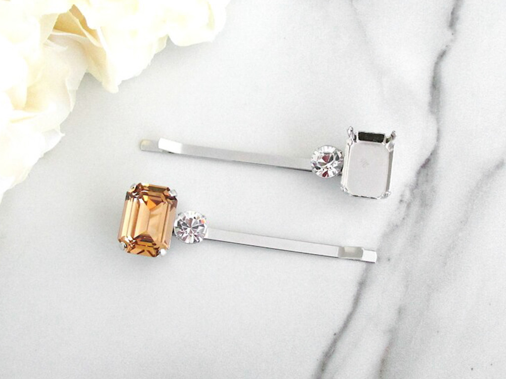 18mm x 13mm Octagon | One Setting Bobby Pin With Crystal | One Piece