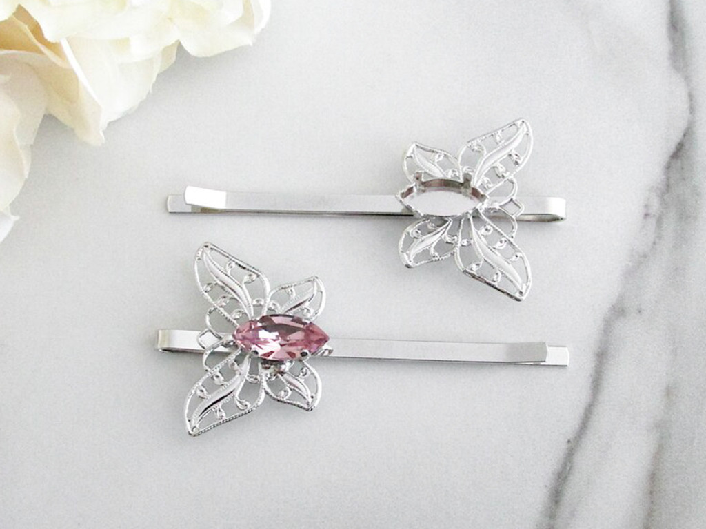 15mm x 7mm Navette | One Setting Filigree Butterfly Bobby Pin | One Piece