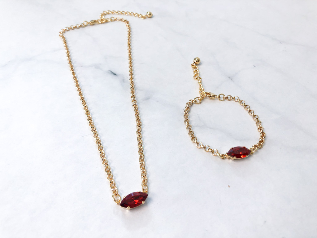 Matching Bracelet and Necklace Set with Out of Production Swarovski Navettes in Red Magma