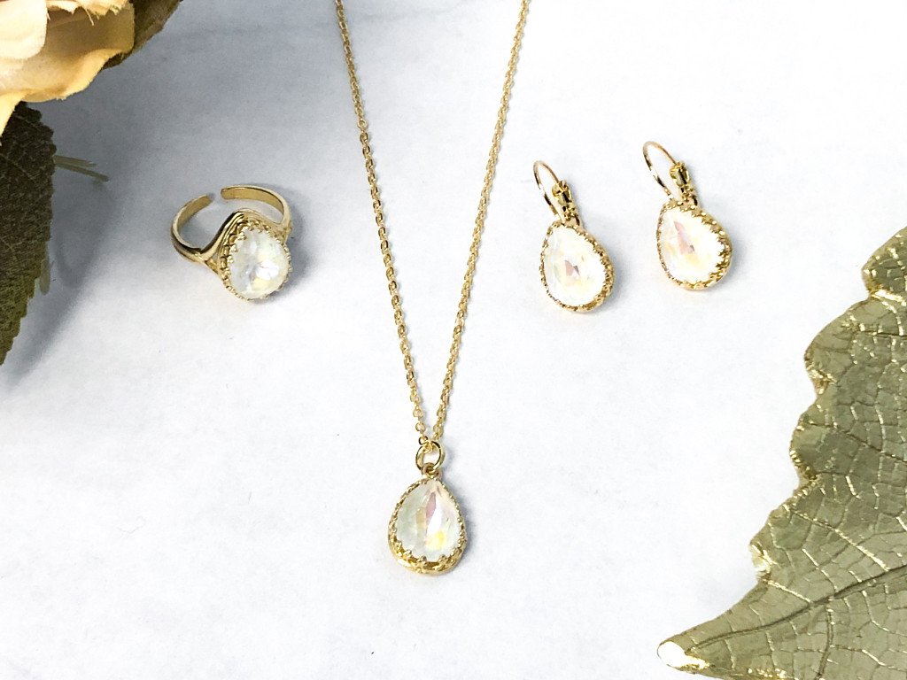 Crown Earring, Ring and Necklace Set
