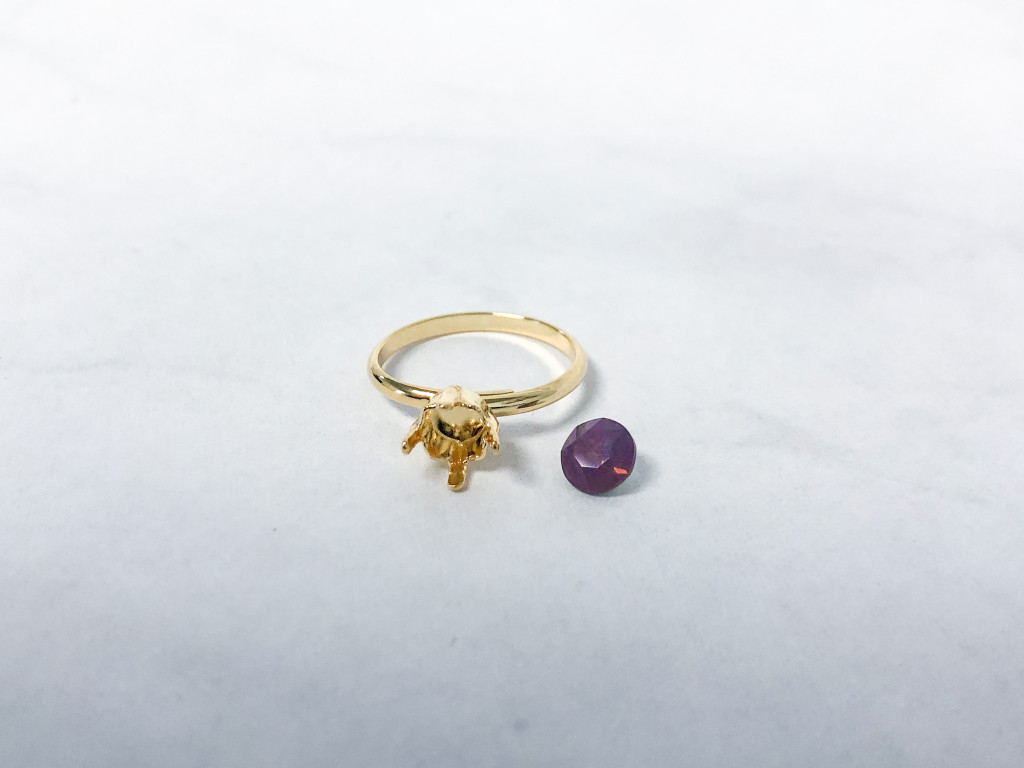 6mm Ring Made with Out of Production Swarovski Cyclamen Opal Stone | Make it Yourself