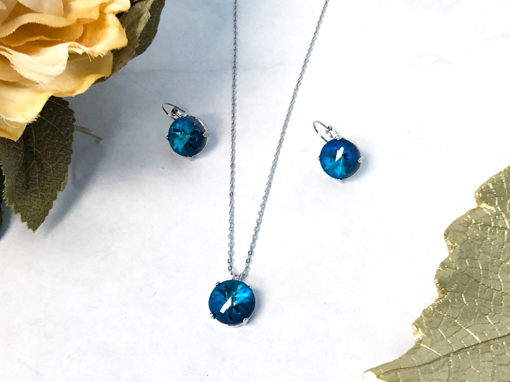 Sea Urchin Necklace and Earring Set made with Swarovski Crystal
