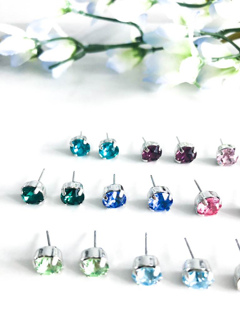 Birthstone Stud Earrings made with Swarovski Crystals
