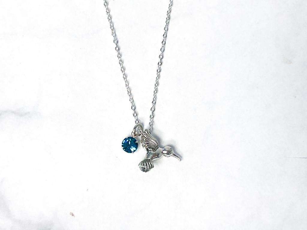 Hummingbird Necklace with Blue Zircon Swarovski Crystals