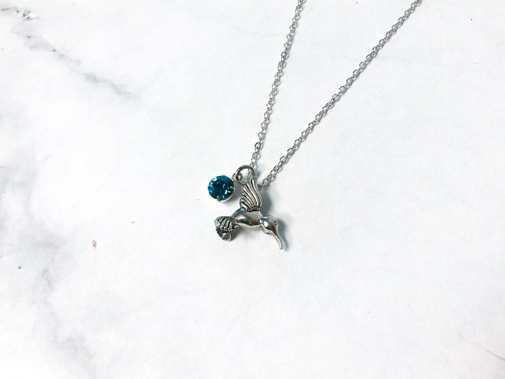 Hummingbird Necklace with Blue Zircon Swarovski Crystals