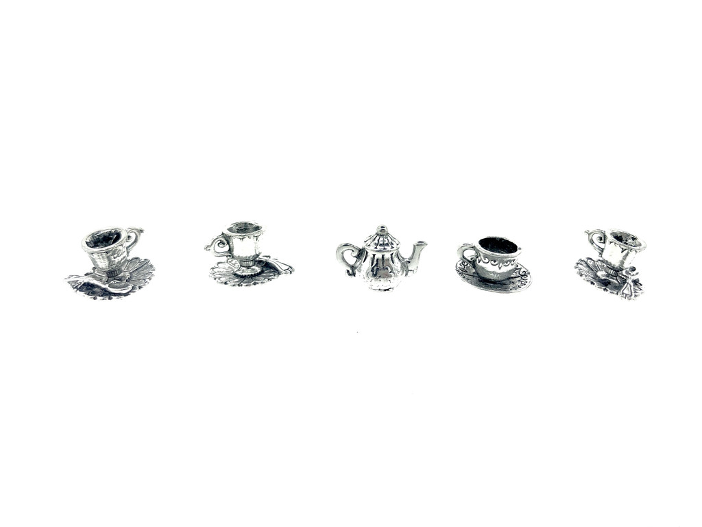 Tea Party Set - Teapot and Cup and Saucer Charms 5 Pieces Per Pack