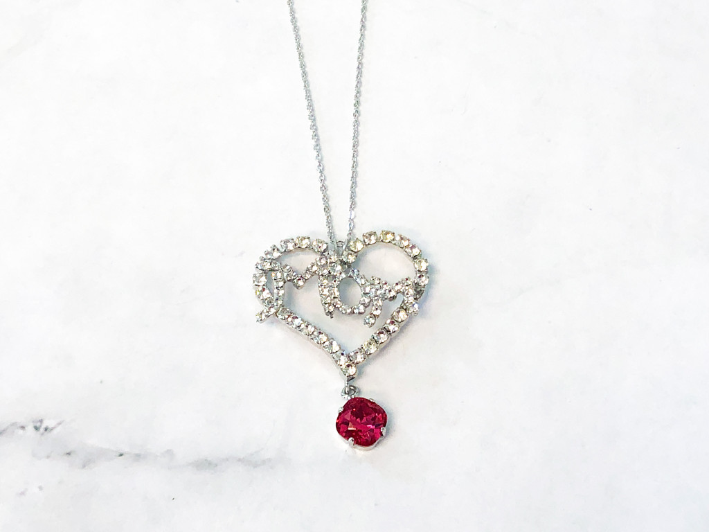 Mom Rhinestone Pendant Necklace with One 10mm Swarovski Crystal