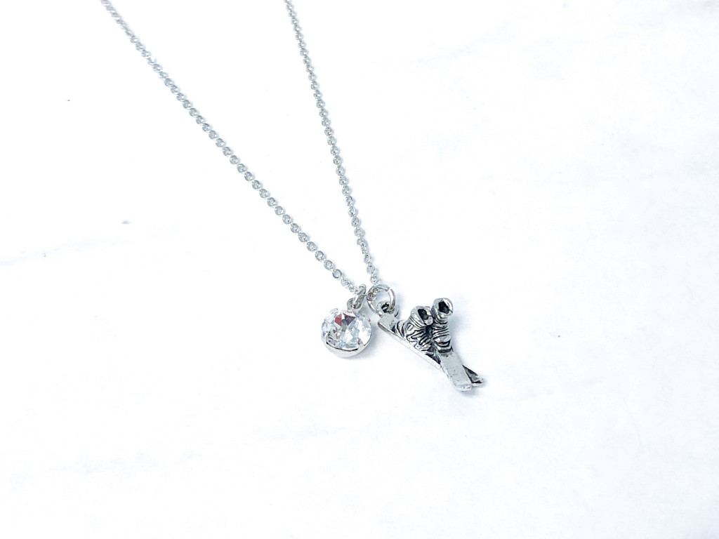 Ski Necklace with Crystal