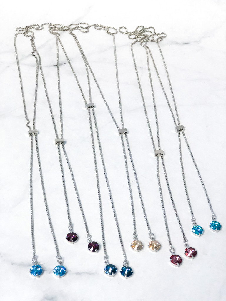 6 11mm Slider Necklaces with Swarovski Crystals Lot A