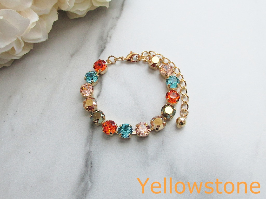 2 Finished Bracelets made with Swarovski Crystals - Yellowstone and Trick or Treat