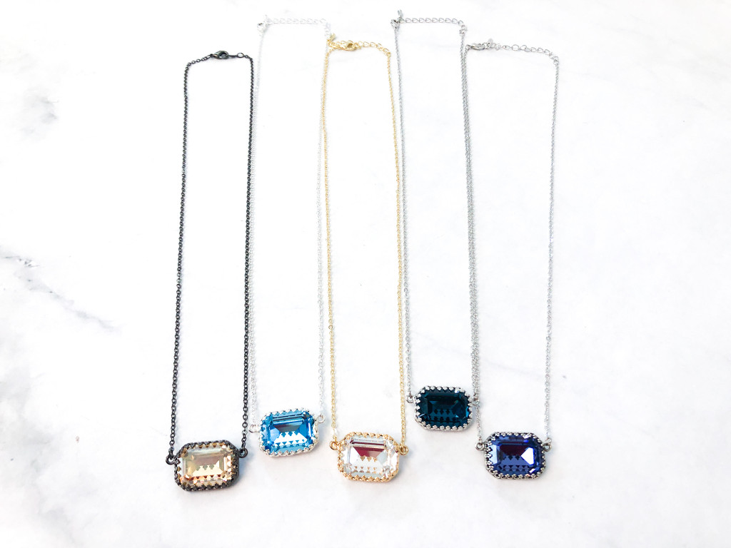 5 Crown Octagon Necklaces made with Swarovski Crystals