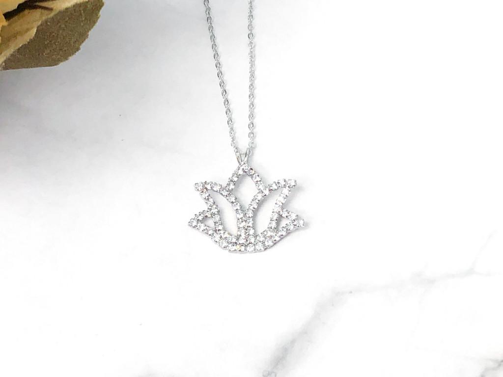 Lotus Flower Rhinestone Necklace made with Swarovski Crystals