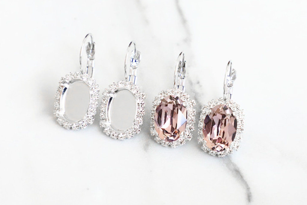 14mm x 10mm Oval | Crystal Halo Drop Earrings | One Pair