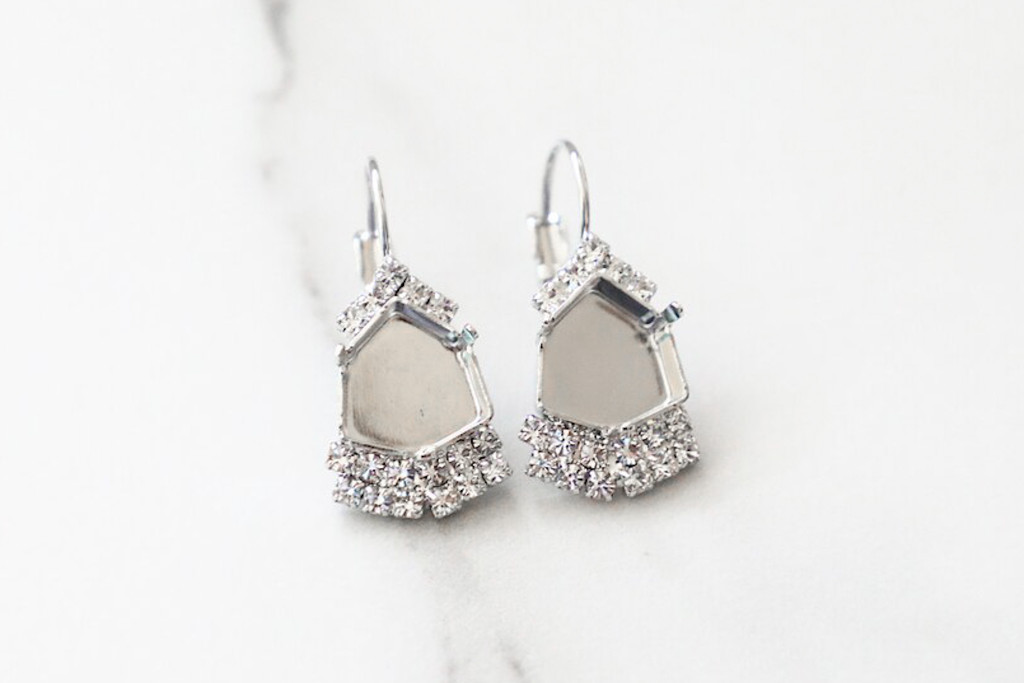 12mm Trilliant | Crystal Halo Accent Drop Earrings | One Pair