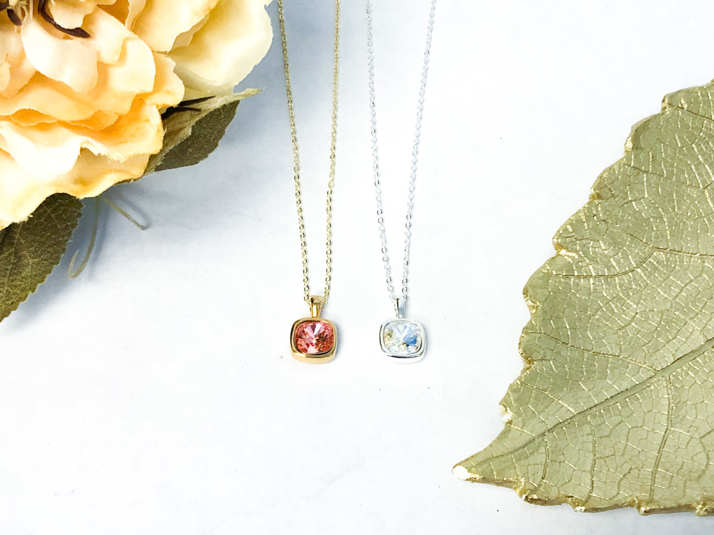 Moonlight and Rose Peach Casted Cushion Cut Necklaces