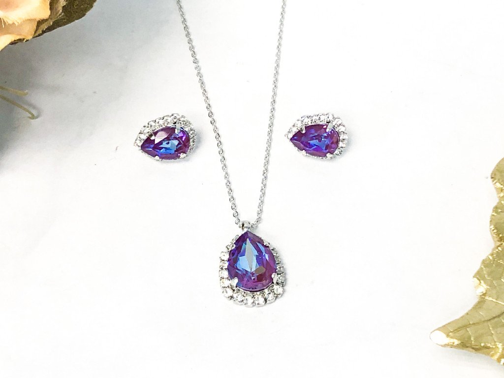 Pear Crystal Halo Necklace and Earring Set with Burgundy DeLite