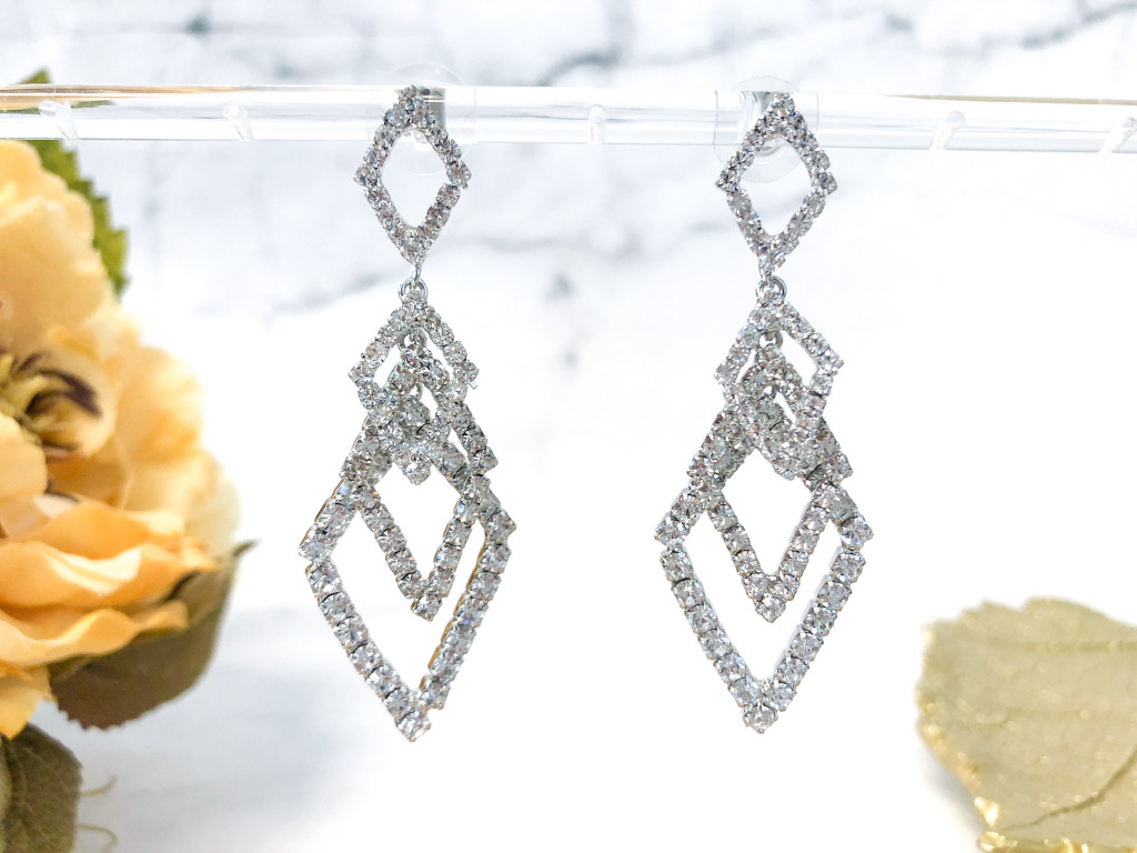 Fancy Diamond Loop Earrings made with Swarovski Rhinestone Chain in Crystal