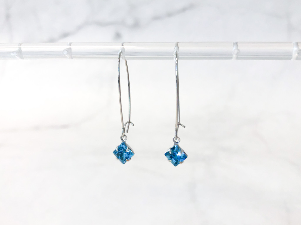 Aquamarine Cushion Cut Jewelry Set made with Swarovski Crystals