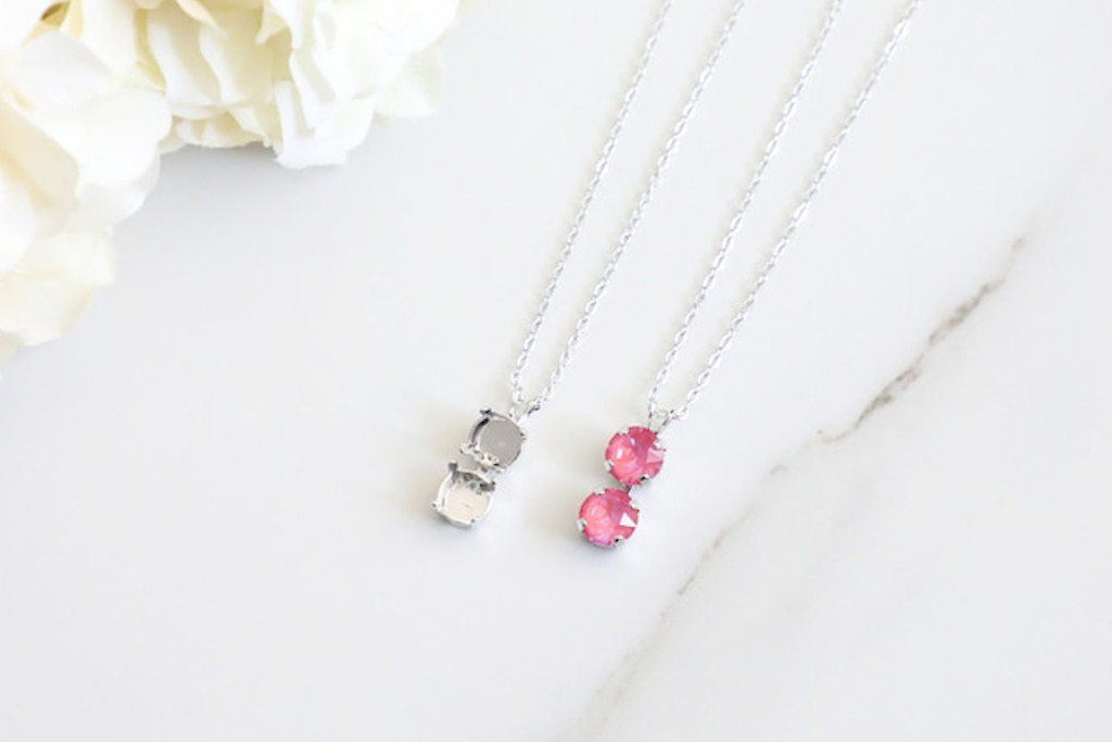8.5mm   Two Setting Drop On Necklace Chain   One Piece