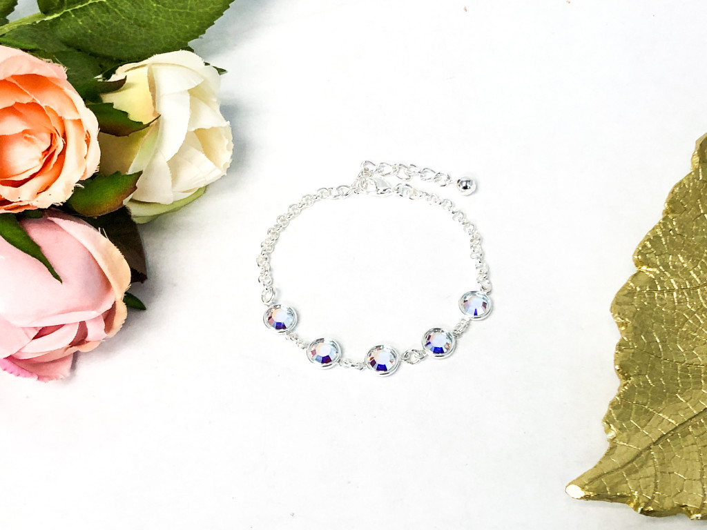Crystal AB Chanel Station Bracelet made with Swarovski Crystals