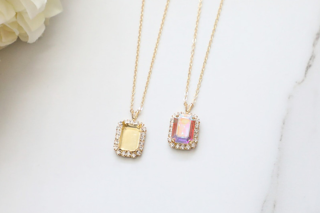 14mm x 10mm Octagon | Crystal Halo Pendant Necklace | One Piece
