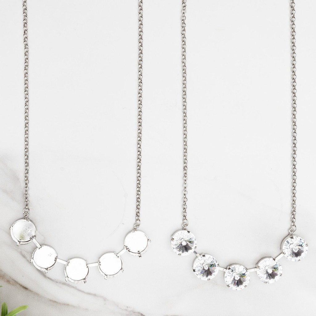 Gold - 18mm | Classic Five Setting Necklace Smooth Rolo | One Piece