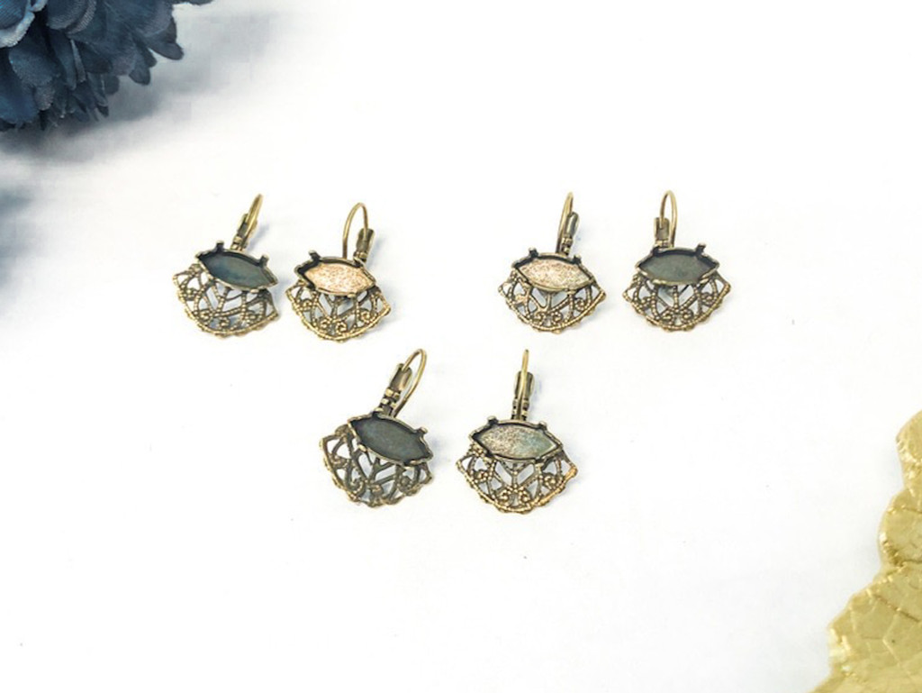 Limited Edition   Filigree Navette Earrings Brass Ox   3 Pairs