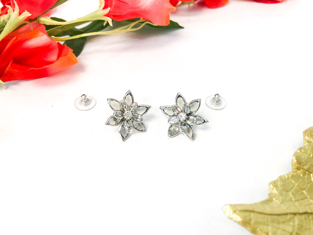 Flower Earrings made with Swarovski Black Diamond