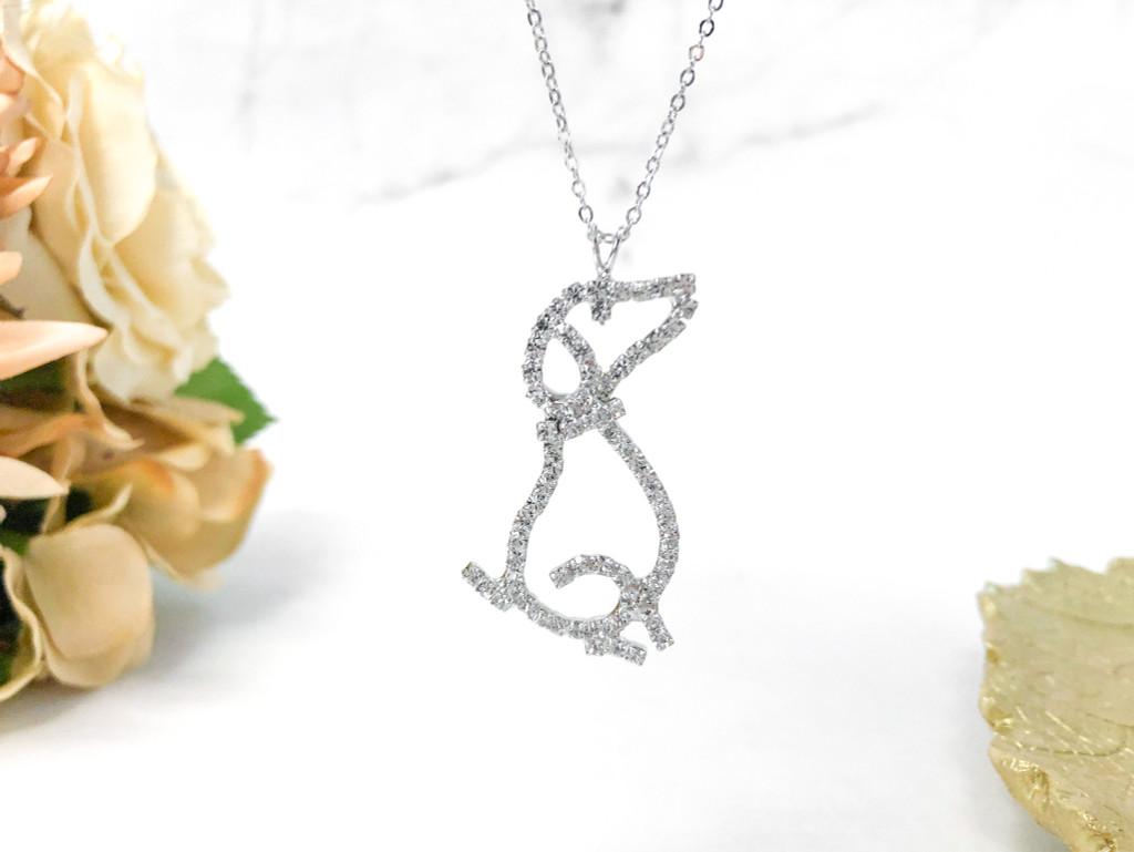 Rhinestone Dog Necklace made with Swarovski Crystals