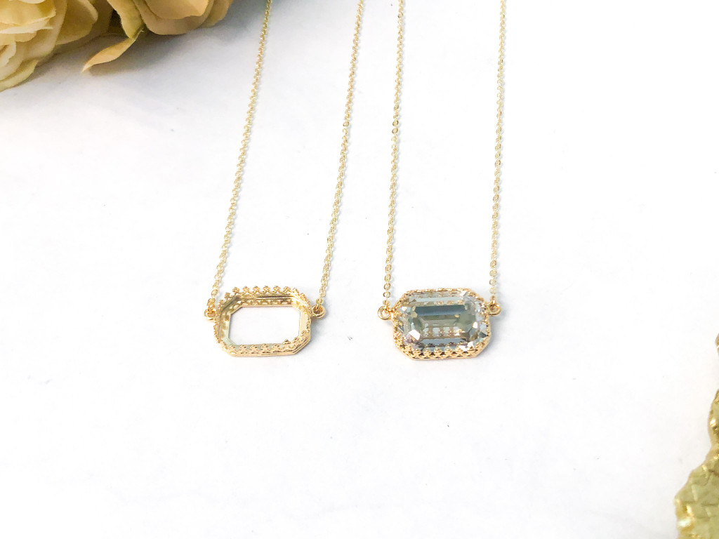 18mm x 13mm Octagon | Crown Pendant Necklace | Delicate Chain | One Piece