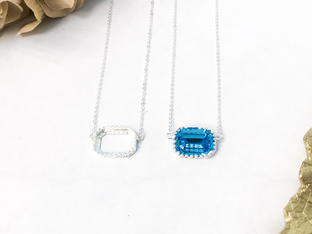 18mm x 13mm Octagon   Crown Pendant Necklace   Delicate Chain   One Piece