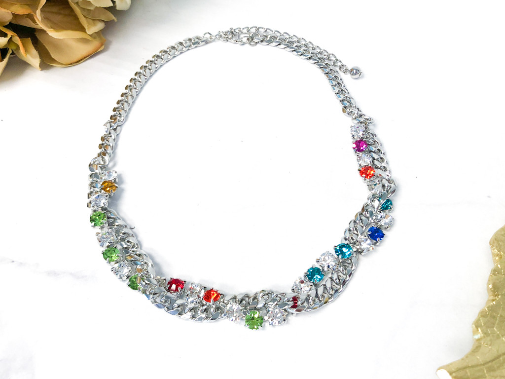 Christmas Twist Necklace made with Swarovski Crystals
