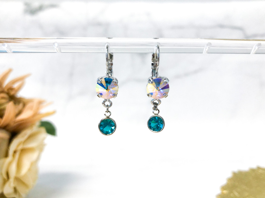 Chanel Drop Earrings made with Blue Zircon Swarovski Crystals