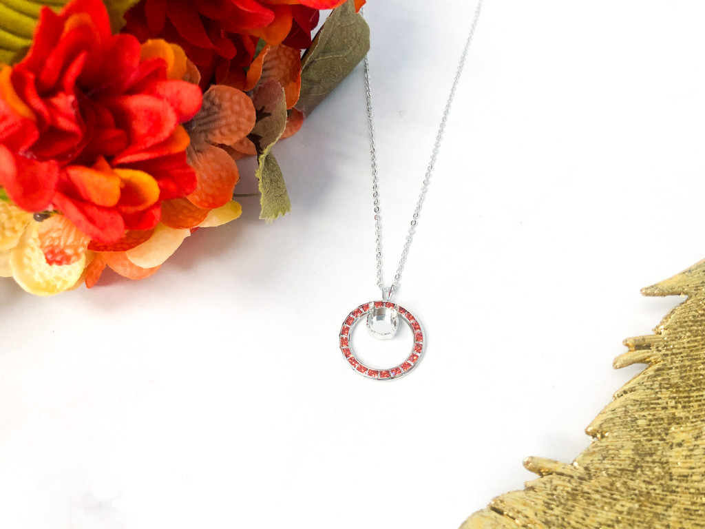 Circle of Hope Necklace made with Padparadscha Swarovski Crystals