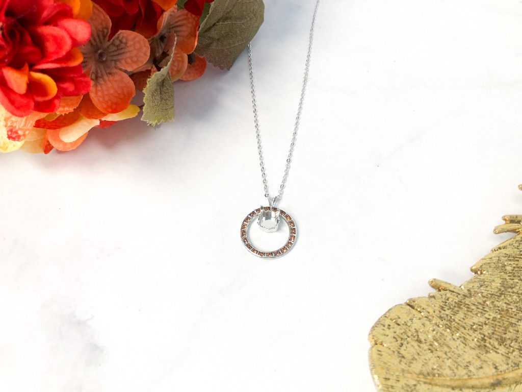 Circle of Hope Necklace made with Light Smoked Topaz Swarovski Crystals