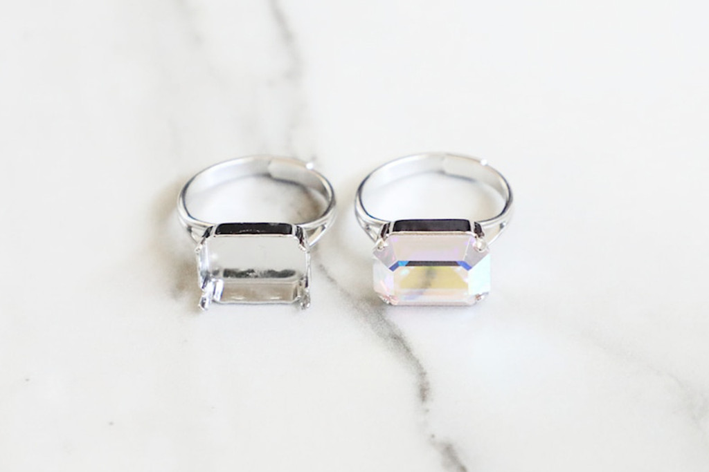 14mm x 10mm Octagon | Classic Band Adjustable Ring | Three Pieces