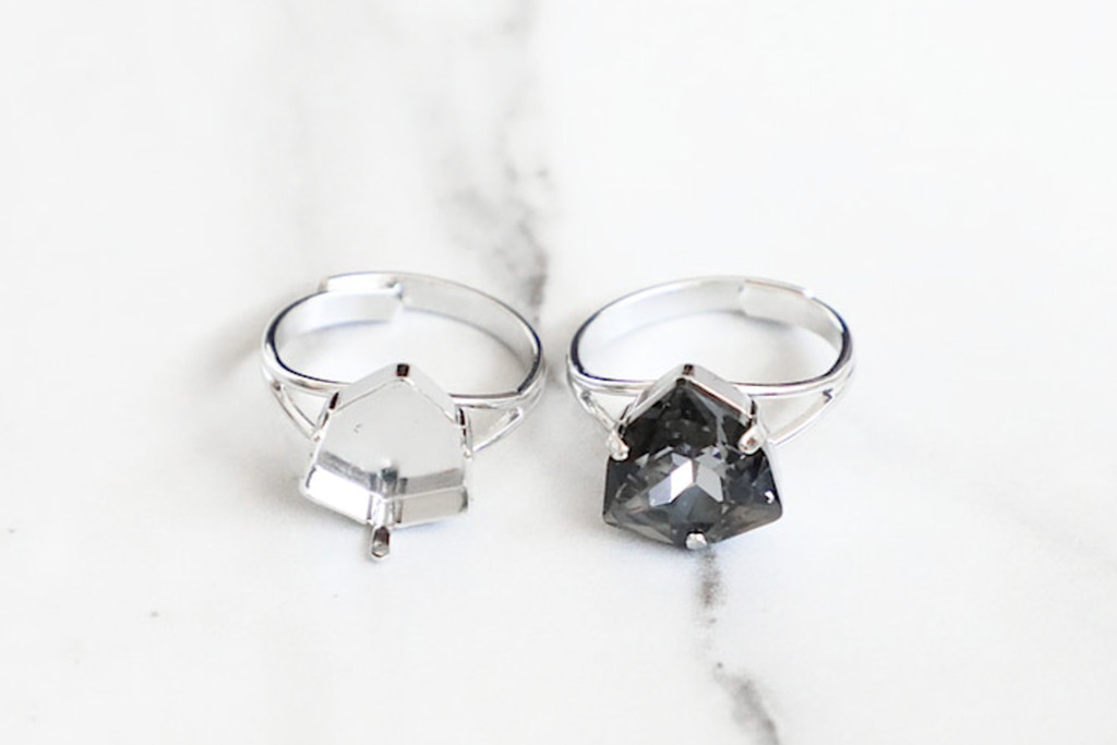 12mm Trilliant | Classic Band Adjustable Ring | Three Pieces