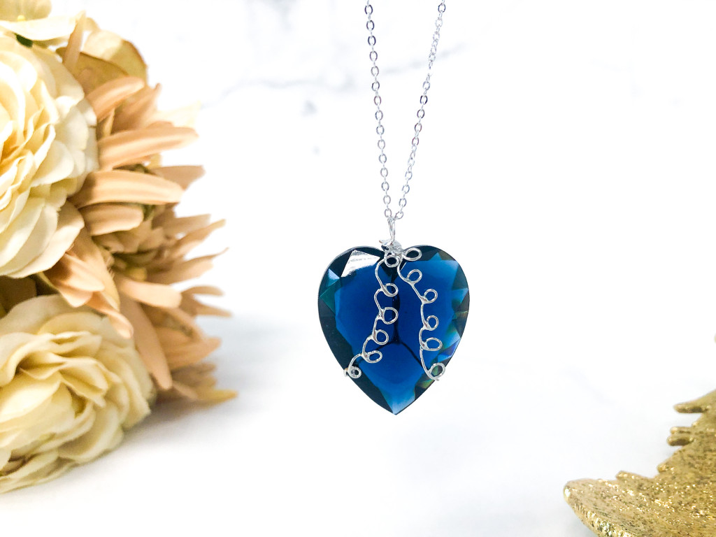 One of a Kind Wire Wrap Statement Heart Necklace made with Swarovski Crystal