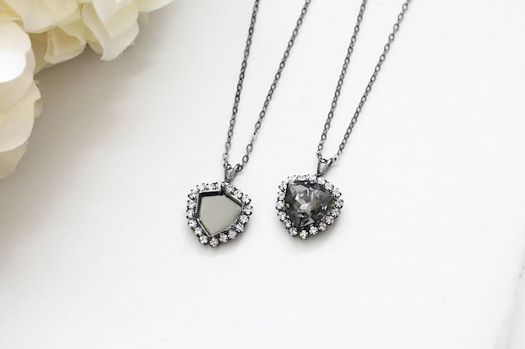 12mm Trilliant | Crystal Halo Single Pendant On Necklace Chain | One Piece