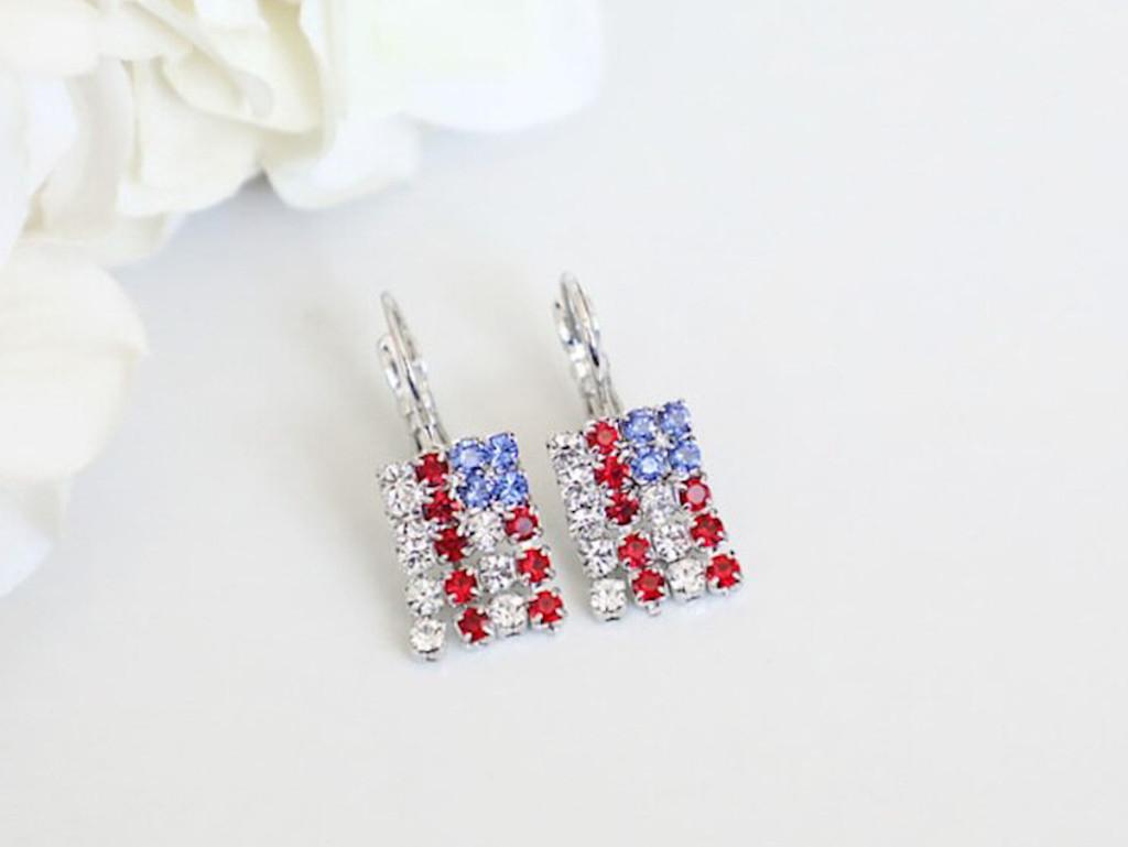 American Flag Crystal Rhinestone Earrings | One Pair