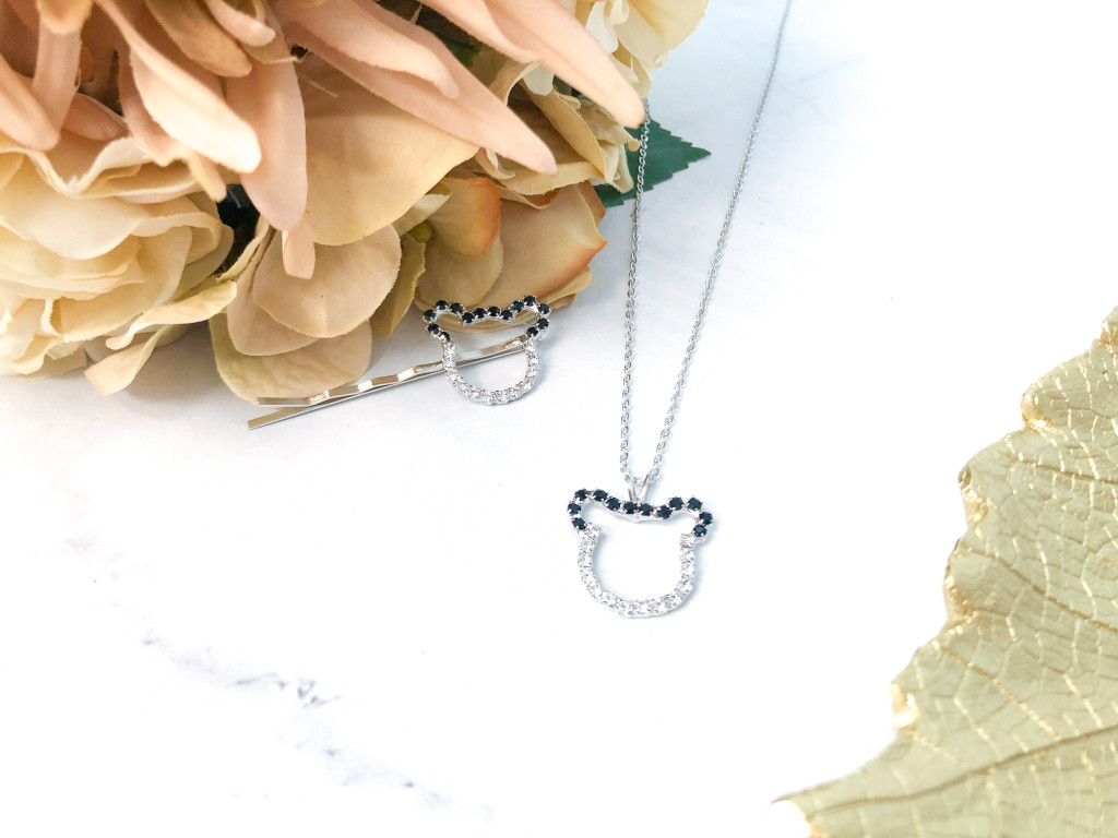 Boy Mouse Bobby Pin and Matching Necklace made with Swarovski Crystals