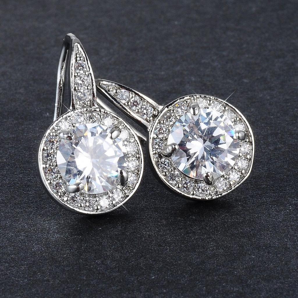 CZ Star Halo Earrings