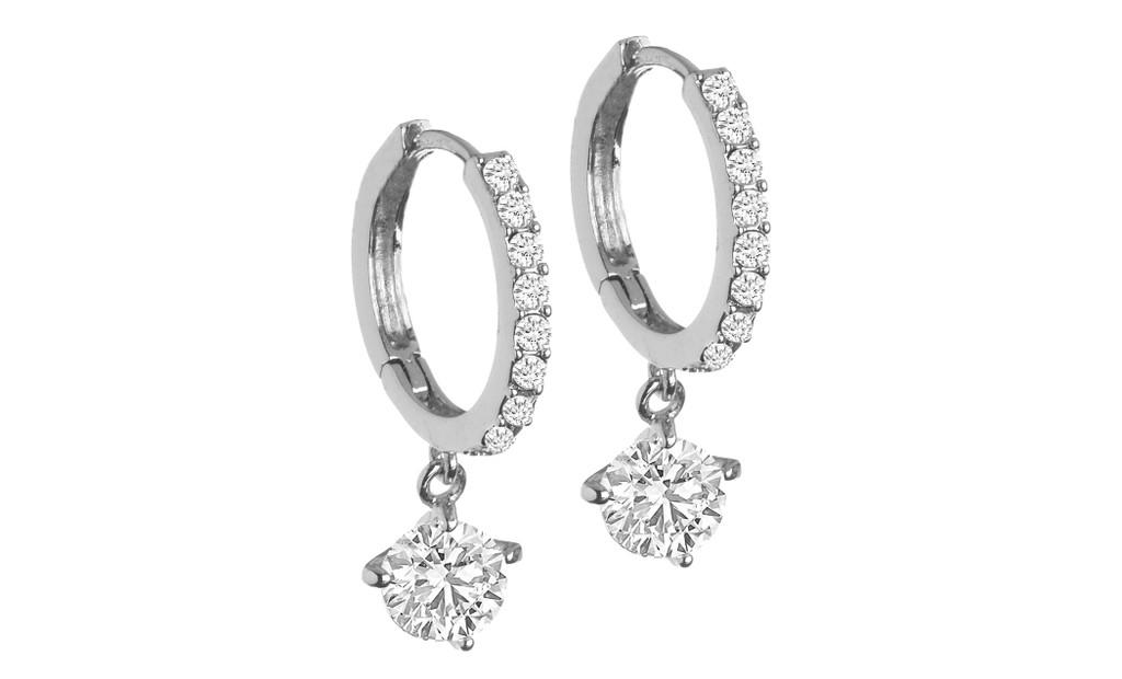 CZ Drop Hoop Earrings