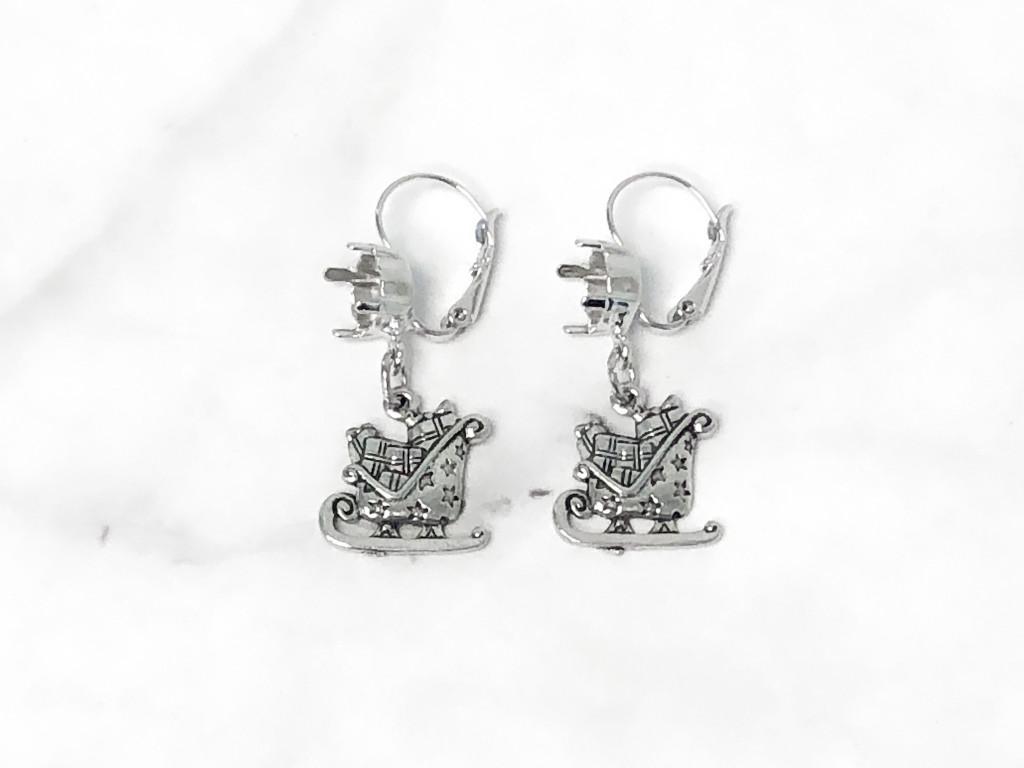 8.5mm | Santa Sled Drop Earrings | One Pair