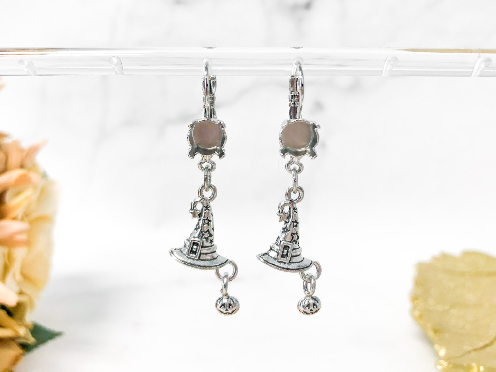 8.5mm | One Setting Drop & Witch Hat Charm Earrings | One Pair