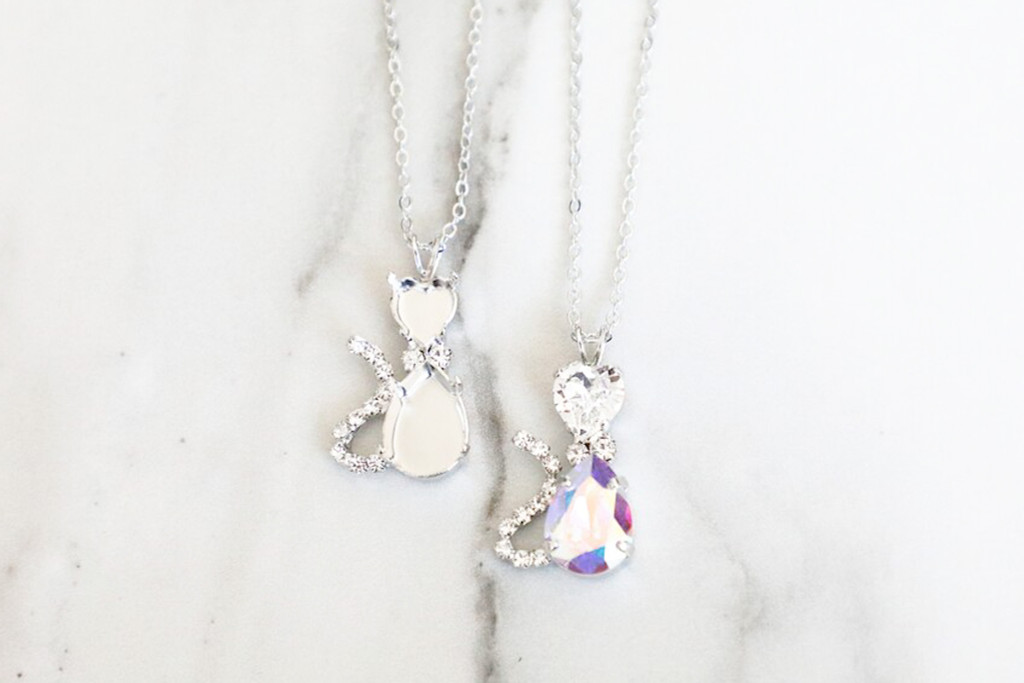 8mm Heart & 14mm x 10mm Pear | Cat Crystal Rhinestone Necklace | One Piece