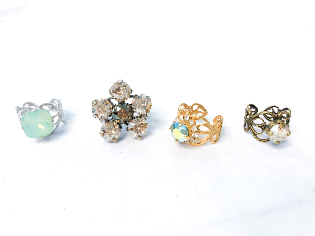 4 Rings | Filigree Ring Bundle made with Swarovski Crystals